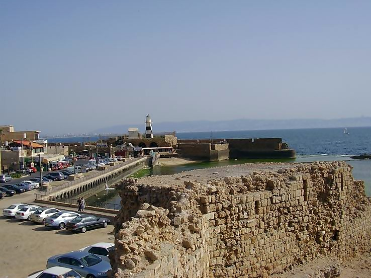 View on the south-western corner of the old city of Acre, with its lighthouse