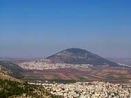 A view of Mount Tabor from Mount Precipice, near Nazareth.