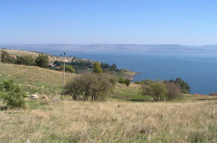 View from Tell Kinnaroth towards the sea of Galilee.