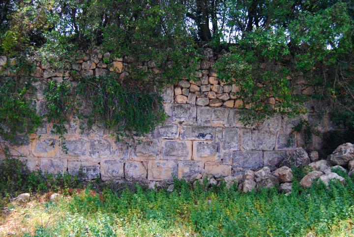 Mount Tabor - wall on the south of the access road