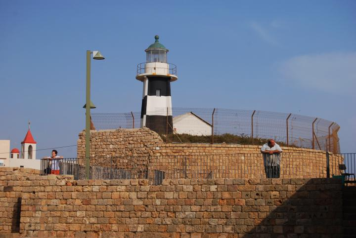 Acre lighthouse on the south-western side