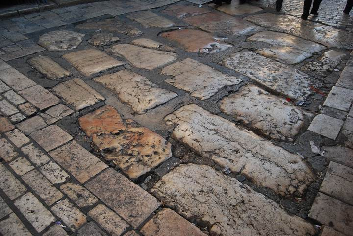 Roman street on the corner of via Dolorosa and El Wad (Hagai) street
