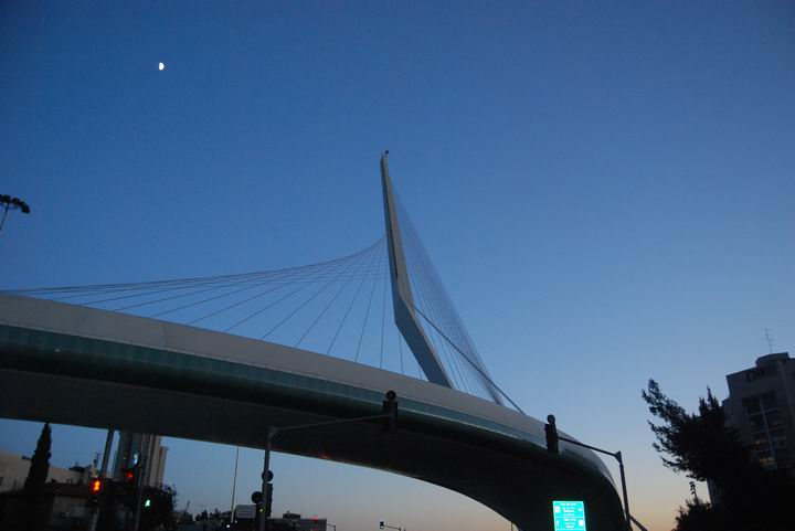 Moon above the bridge of strings - at dusk