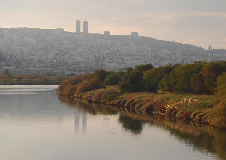 Wide Kishon river near Haifa