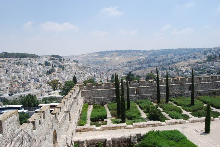 View from the Crusaders tower towards the Kidron valley.