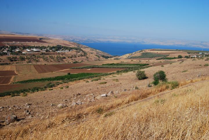 View of Rakkath creek from the road to Tiberias