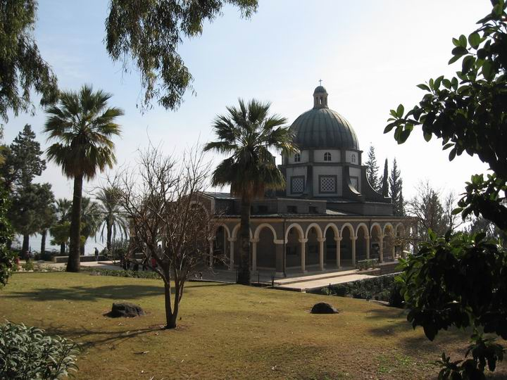 View of the church of Mount of Beatitudes