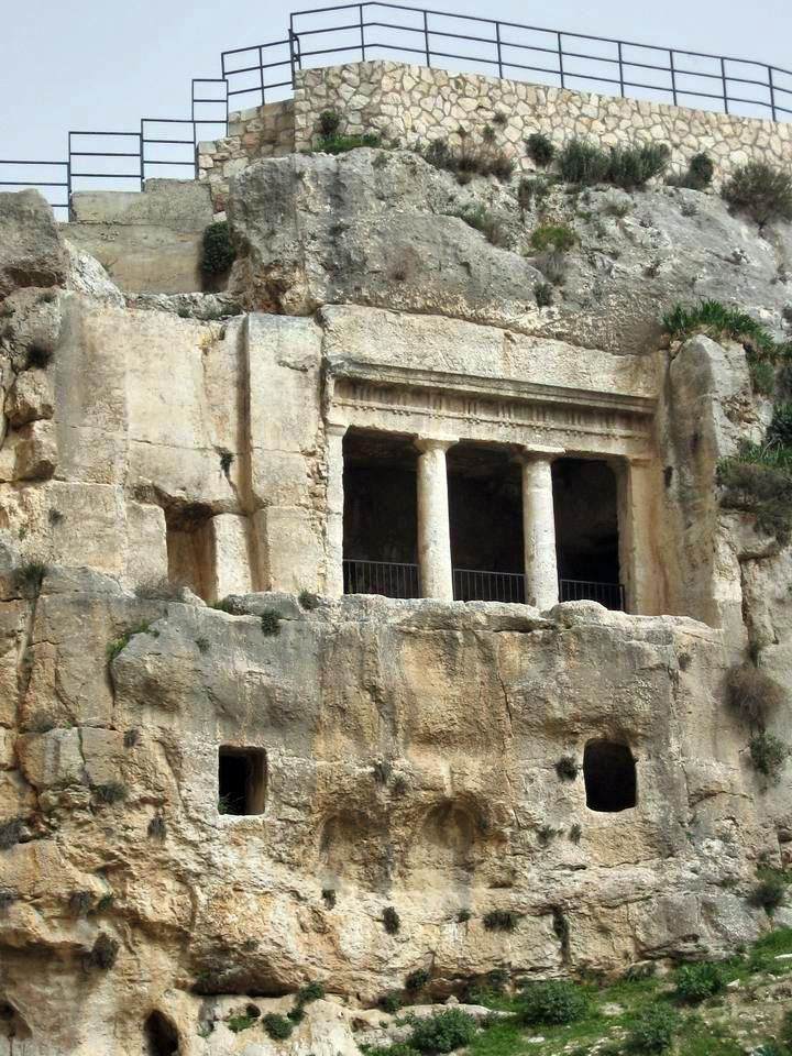 A close up of the Bnei-Hezir family cluster of tombs.