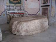 A slab of chalk rock that according to a tradition was the rock on which Jesus ate with his disciples after rising from the dead.