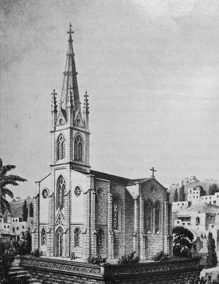 Christ church in photo from 19th C