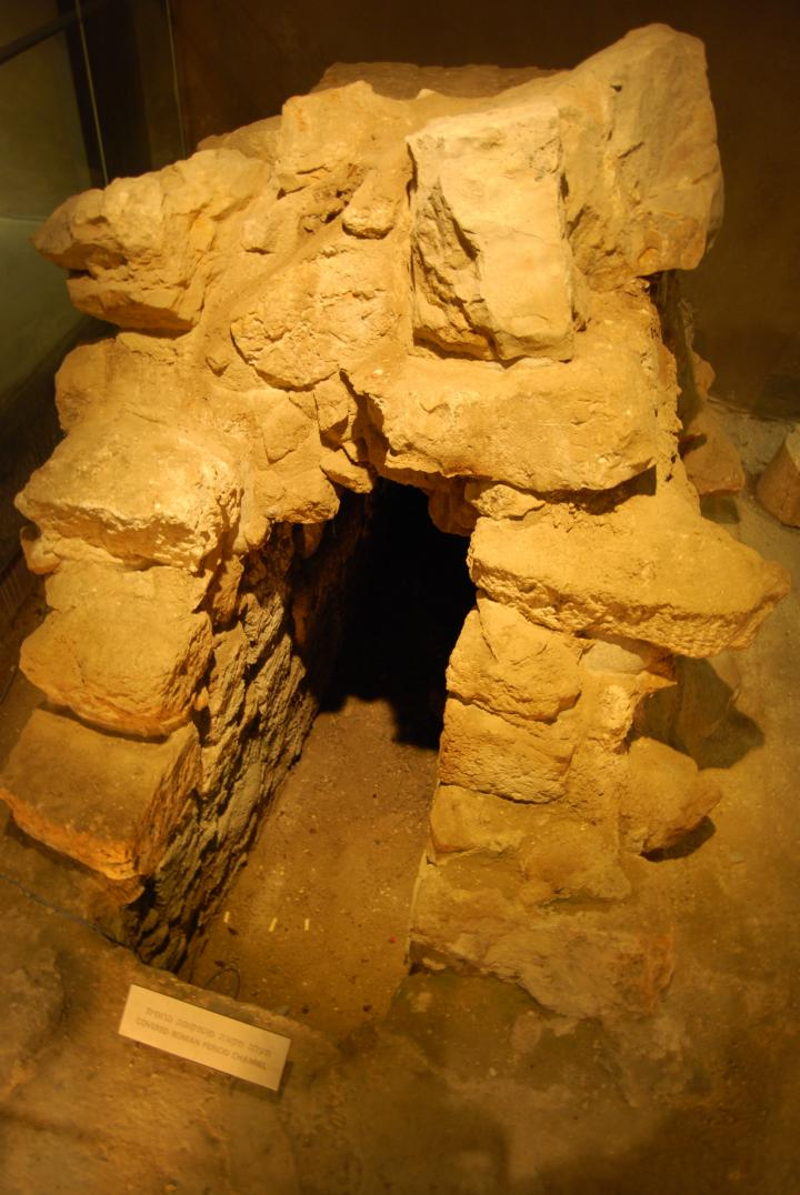 Covered Roman channel in the burnt house.