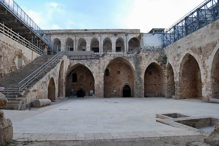 Acre Knights halls: the courtyard (view towards south)