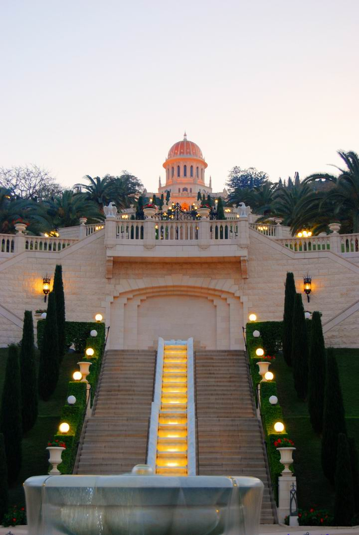 Bahai Gardens - at the evening.