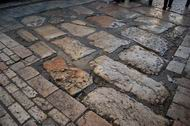 Roman street on the corner of via Dolorosa and El Wad (Hagai) st