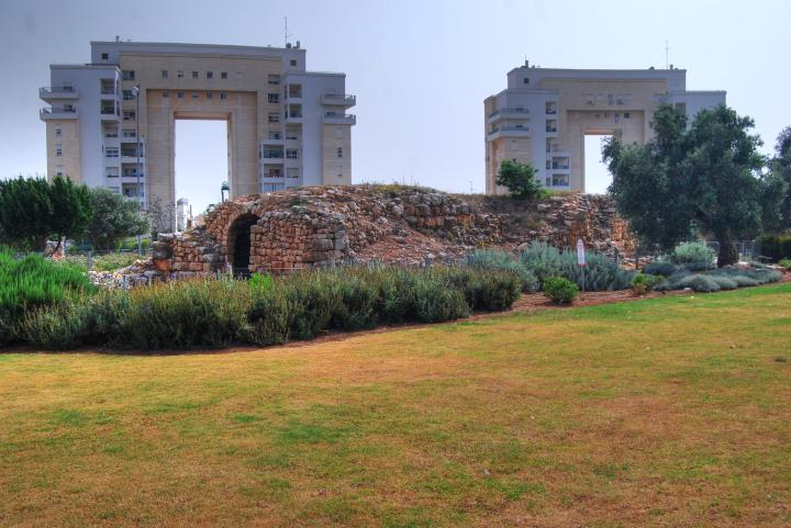 Hurvat Kav and the modern buildings of Karmi'el
