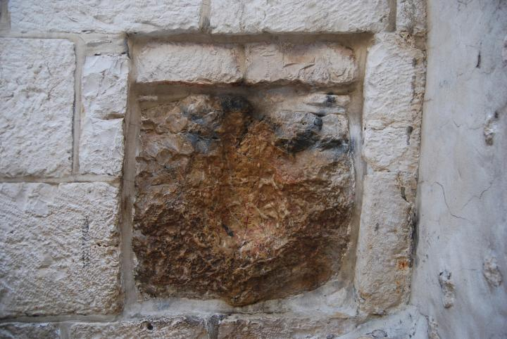 Via Dolorosa, 5th station - Jesus hand imprint