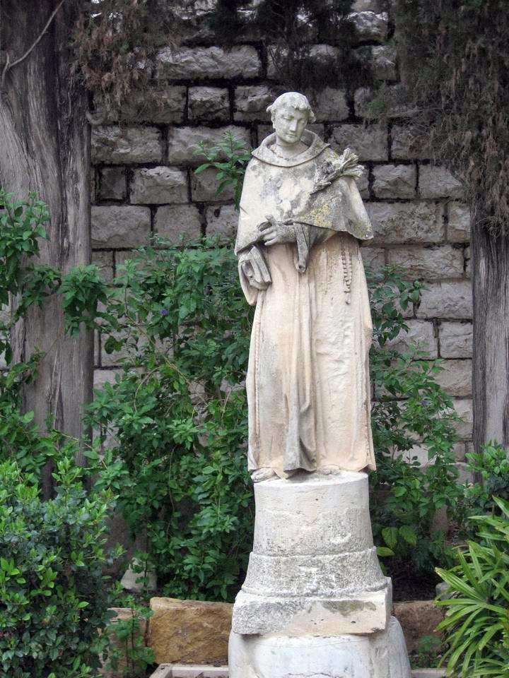 Status of St. Joseph in the garden of St Joseph church in Nazareth.