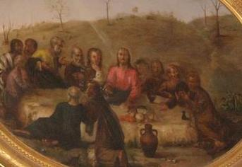 Detail of the painting of the scene of the meal of the risen christ with his amazed disciples